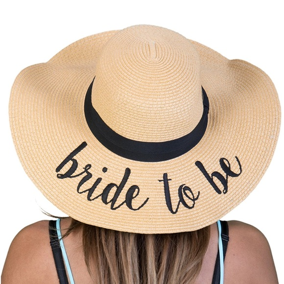 Bride to be floppy half beach hat straw hat new af43a02e933